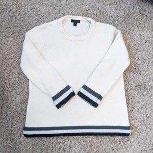 J. Crew Wool Triple Tipped Hem Sweater Ivory Gray
